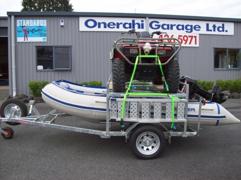 Quad bike and inflatable boat trailer