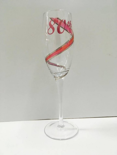 80th Champagne Glass