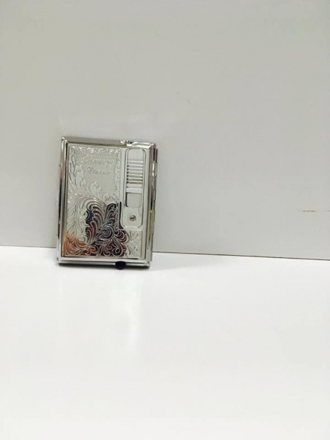 Cigarette Case with Lighter - Chrome