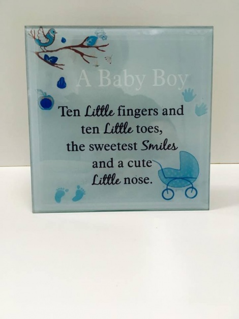 Glass Plaque - Baby Boy 1