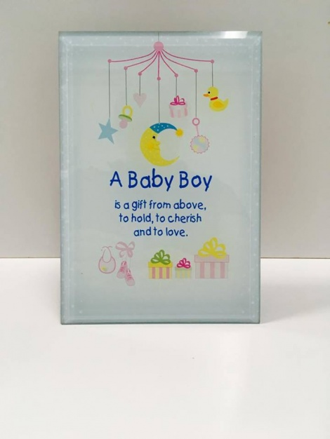 Glass Plaque - Baby Boy 2