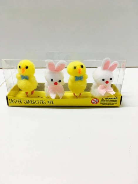 Easter Bunnies & Chickens 4 Pack