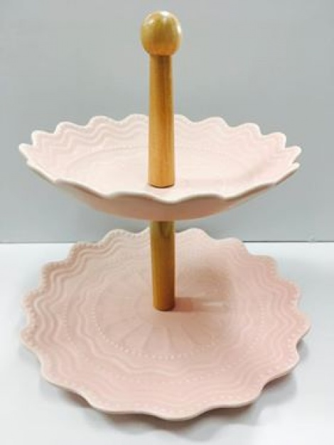 Ceramic Cake Stand - Dusty Pink