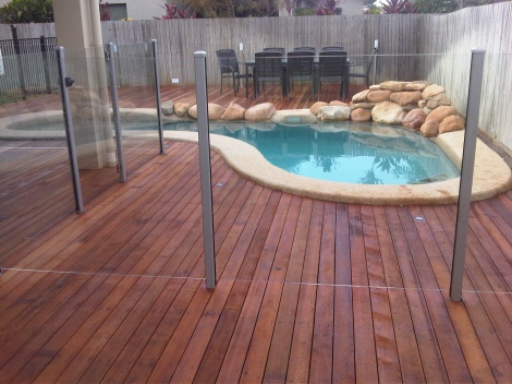 Semi Frameless Glass on Timber Decking