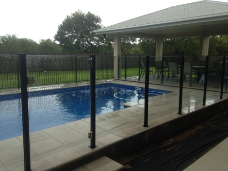 Semi Frameless Glass Fencing with Powdercoated Aluminium Black Posts