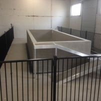 Black Flat Top Powdercoated Aluminum Fencing at All About Animals Doggy Pool