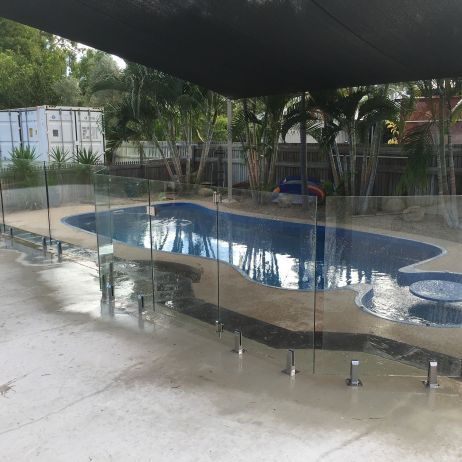 12mm Thick Certified Frameless Glass Pool Fencing with 316 Grade Stainless Steel Base Plated Square