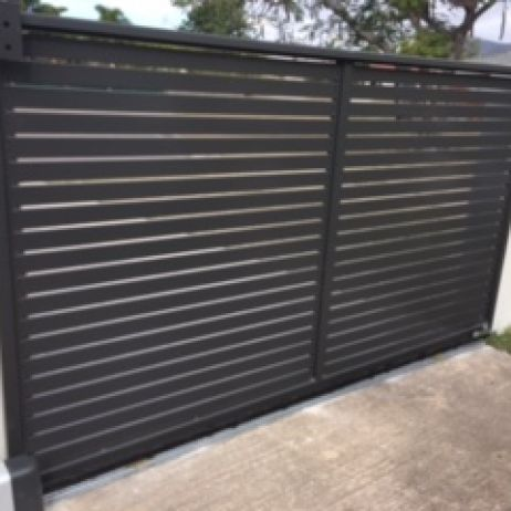Horizontal Slatted Powder coated Aluminium Sliding Gate with Solar Motor in colour Monument