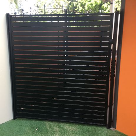Black Slatted Aluminium Gate