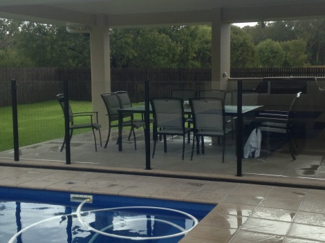 Semi Frameless Glass with Black Posts
