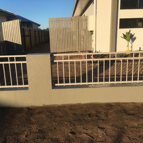 "600mm high Double top powder coated aluminium in colour ""Dune "" fence infills"