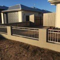 """600mm high Double top powder coated aluminium in colour """"Dune """" fence infills"""