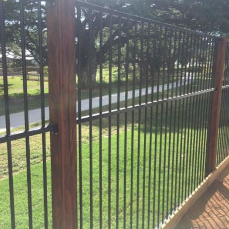 Powder coated Aluminium Black Flat top fencing 1800mm high with 100mm x100mm Hardwood Timber Posts