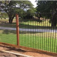 Powder coated Aluminium Black Flat top fencing 1800mm high with 100mm x 100mm Hardwood Timber Posts
