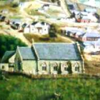 Detail from the 1858 oil painting of Yass by J.E. Grube- The Globe Inn centre left