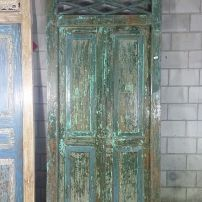 Balinese Original Wooden Antique Green & Blue Wash Doors