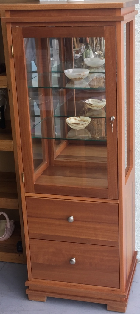 NTF1429 JARRAH DISPLAY CABINET