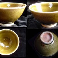 CHAWAN - GREEN ON PORCELAIN ANAGAMA POTTERY TEA BOWL BY CHESTER NEALIE