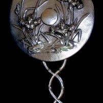 ART NOUVEAU SOLID COIN SILVER CHINESE MIRROR