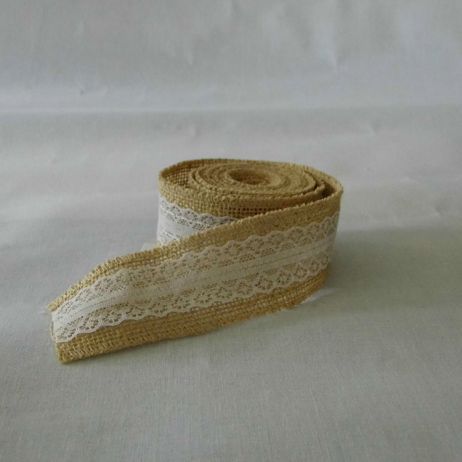 Lace overlay hessian ribbon