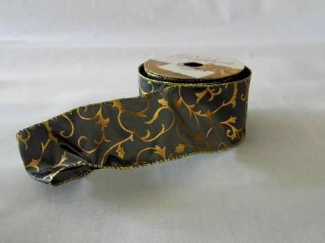 Gold embossed grey satin ribbon