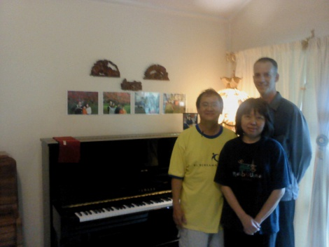 3:4 PRIVATE CUSTOMERS WITH THEIR YAMAHA U1 UPRIGHT, EPSOM AUCKLAND