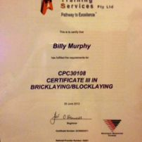 Certificate III Bricklaying/Blocklaying