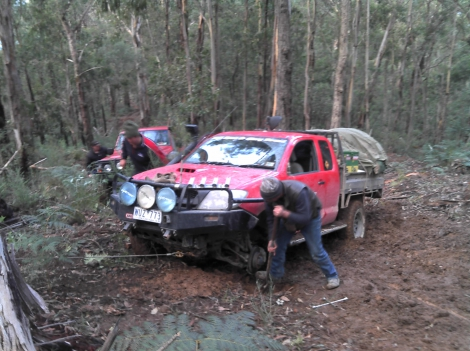 Stuck Hilux with a flat tyre