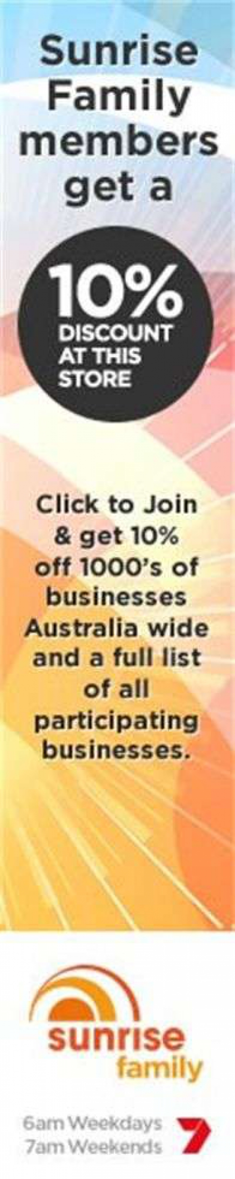 10% off to Sunrise Family Members